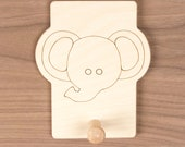 Elephant Animal Hook, cute nursery decor for hats, coats and backpacks. Personalize with a child's name.