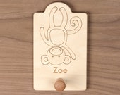 Monkey Animal Hook, cute nursery decor for hats, coats and backpacks. Personalize with a child's name.