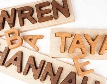 Name Puzzle, personalized wooden custom name puzzle // Montessori Educational Toy // custom handmade wood puzzle