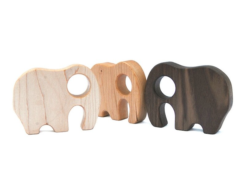 Wooden Elephant Baby Rattle // Organic Baby Teether and image 0