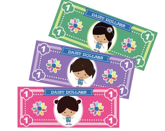 Girl Scout Daisy Dollars - Printable Instant Download