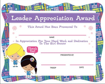 Daisy Girl Scouts Leader Appreciation Award - Printable Instant Download