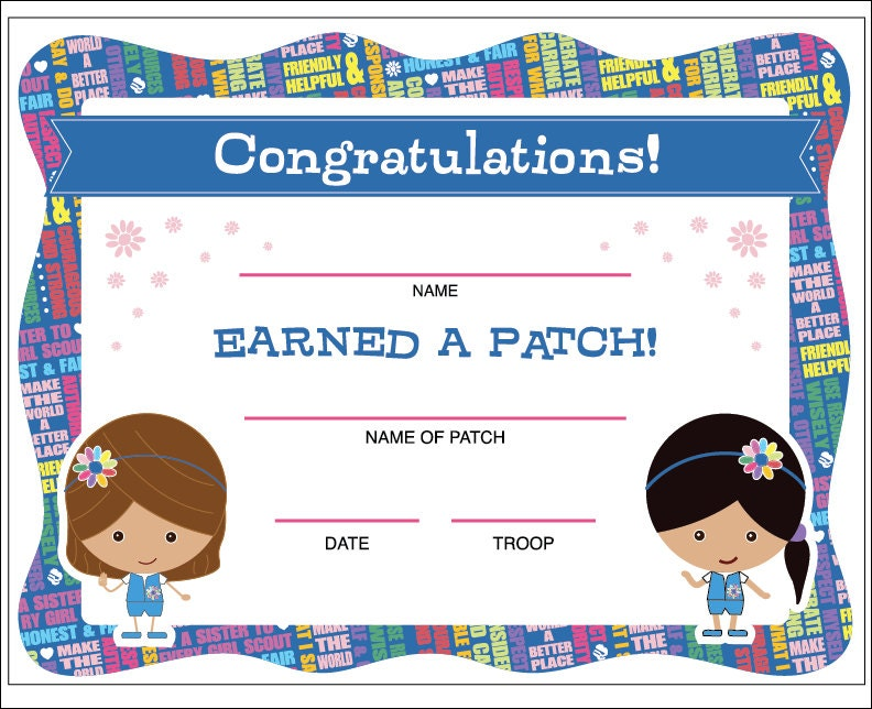 Daisy Girl Scouts Patch Certificate Printable Instant Etsy