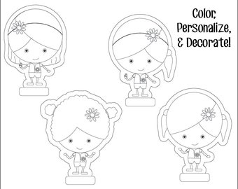 Daisy Girl Scouts Paper Dolls - Printable Instant Download