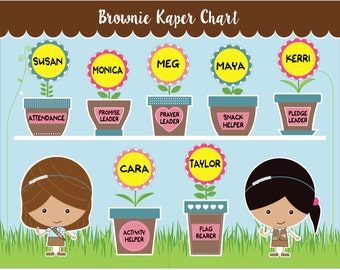 Brownie Girl Scout Kaper Chart - Printable Instant Download