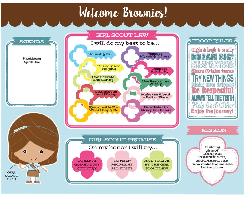 picture regarding Girl Scout Promise and Law Printable named Brownie Woman Scout Ensure Regulation Conference Board - Printable Quick Obtain