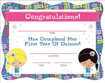 Daisy Girl Scouts First Year Completion Certificate - Instant Download