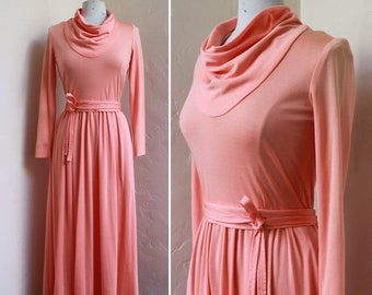 f28820f392 Vintage 1970's Peach Jersey Cowl neck Maxi Evening gown by California Girl  - Draped Dress Flaring skirt - Size US 8