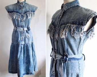 a3dba659f22 1980 s JOU JOU Denim Dress - Distressed Denim Cowgirl Dress - Vintage Jean  Dress - Festival Dress - Denim Western Shirt Dress -Size US 8