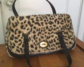 43ddbce3e4c7 Vintage 1960 s Leopard Faux Fur Handbag- Rockabilly Pin Up Glamour Girl Leopard  Cheetah Large Purse