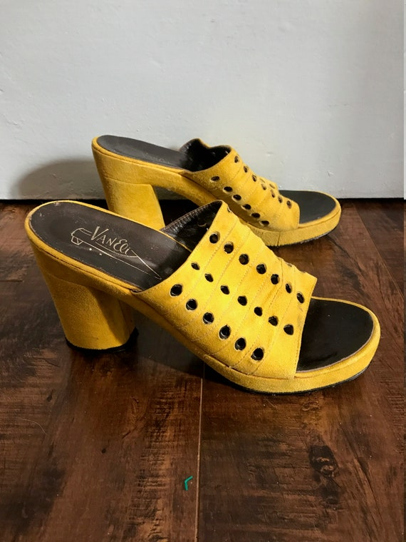 1970's Yellow Suede Platform Mules by Vaneli - Sum
