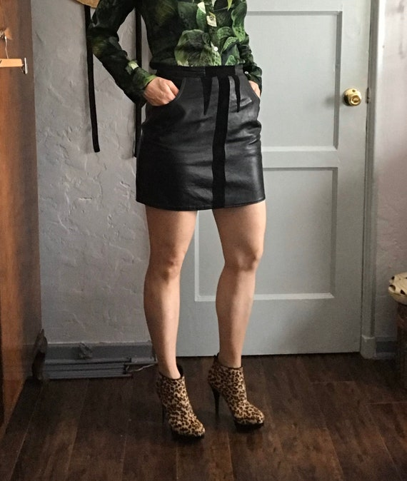 Vintage 1960's Black Leather Mini Skirt with Suede