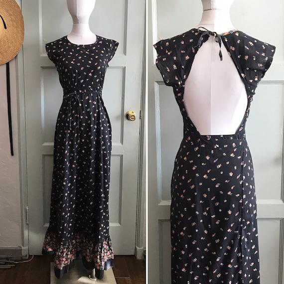 Vintage 1970's Plain Jane Halter Dress - Open Back