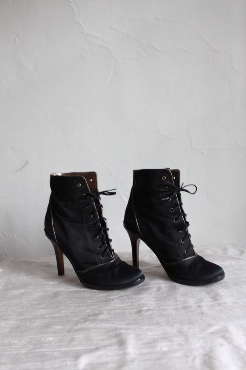 c5257683cde1c Marc Jacobs Black Satin & Leather Lace Up Ankle Boots Witch | Etsy