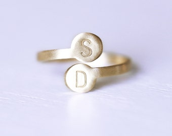 Monogrammed Ring, Double Initial Ring, Gold Brass Initial Ring, Personalized Initial Ring, Personalized Gold Ring, Monogram Ring