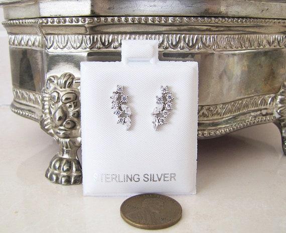 CZ Leaf Sterling Silver Stud Earrings, ear climber