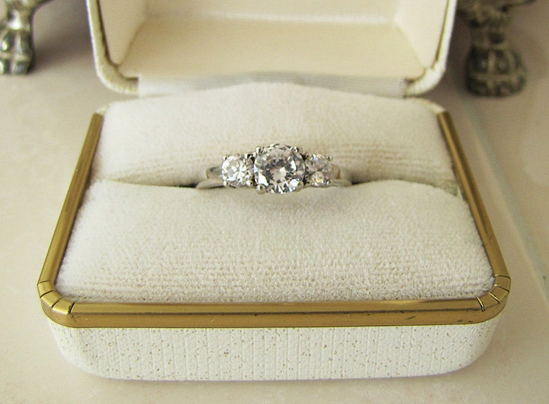 Trio CZ Sterling Silver engagement Ring Size 8 Art deco style