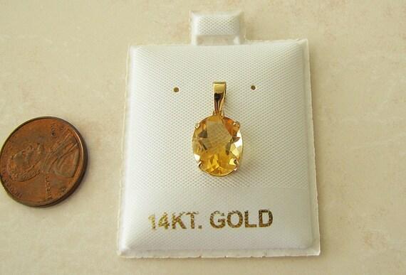 14k Gold Oval Citrine Pendant, 11X9mm, November bi