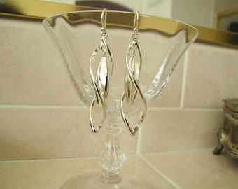 3D diamond dangle sterling silver Earrings