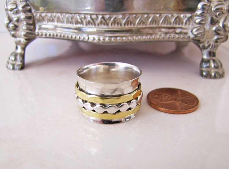 3 spinning band Sterling Silver Spinner Wide Ring Band size 8