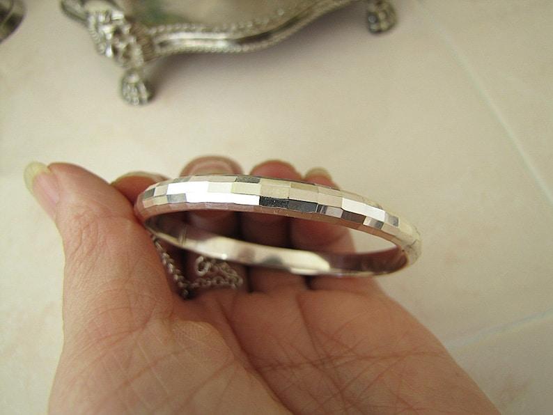 Children sterling silver faceted tube bangle bracelet
