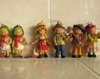 Super Cute Vintage Christmas figurines Ornaments, six figurines