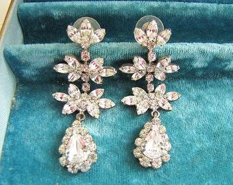 Stunning Gorgeous Vintage Bridal Rhinestone Dangle Earrings (Hollywood Style)