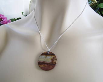 Red Creek Jasper Sterling Silver necklace, Autumn Forest Painting