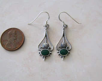 Sterling silver Malachite Ornate Earrings
