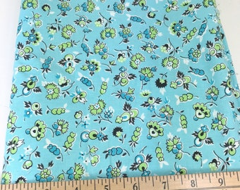 Aqua, Green, Floral, Flowers, Picnic and Fairgrounds, DS Quilts Collections by Denyse Schmidt for Fabric Traditions, 1 Yard
