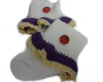 Pretty Crocheted Los Angelas Lakers Inspired Basketball Baby Girl Socks