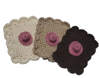 Boob Breast Chest Knockers Fancy Dish/Body Cotton Cloths-Set of 3