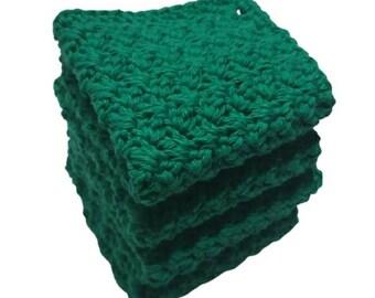 NWT Handmade Cotton Dish Wash Cloth Set of 4-Green