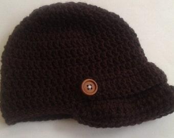 Newsboy Dark Brown Baby Brimmed Crocheted Hat/Costume/Photography Prop
