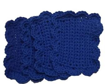 Royal Blue Kitchen Dish Sponge Reusable Cotton Eco Friendly Rag Sponges-Set of 6