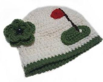 Crocheted Baby Girl Hat-Gulf Sports Fan Photo Prop Beanie Hat-Photo Prop