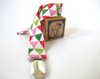 Triangles Binkie Clip - Geometric Girl Pacifier Clip - Remix Triangles by Robert Kaufman