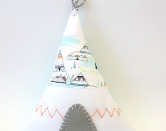 Teepee Pillow/ Tipi Pillow With Teepees Mountains and Foxes Fabric - Aqua Backing