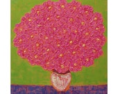 57% OFF....Pink Impasto Flower Painting...Heavy texture...LARGE 30x30 Square Flower Art...Pink Flowers in White Vase