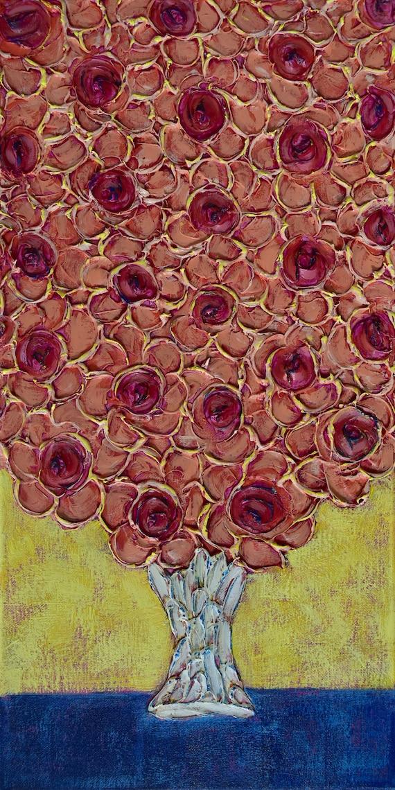 Textured Flower Painting     Skinny Paintings     Floral Impasto Art      Small Art 10x20     Original Art    Yellow Painting     Vertical
