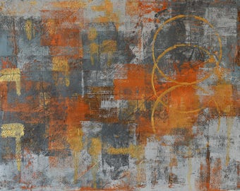 "Small Paintings ... Abstract Painting ... 11 x 14"" Acrylic on Canvas ... Grey Orange Metallic Gold ... Original Art  ... Modern Painting"