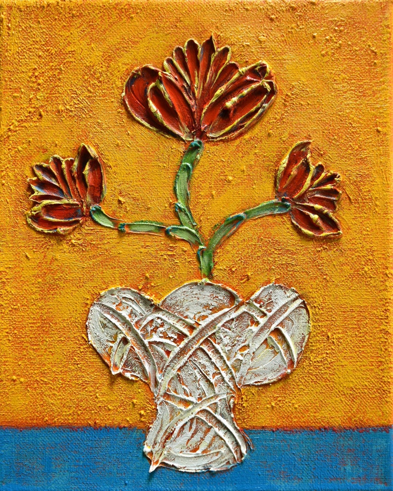 Small 8x10 in  original acrylic textured flower painting on canvas, Just a  Little Red
