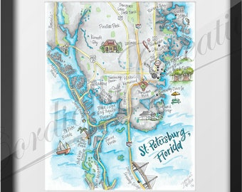 St Petersburg Florida Map.St Petersburg Fl Etsy
