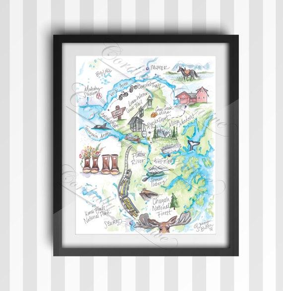 Girdwood Alaska Map Illustration Poster Print 11x14 Inches Etsy