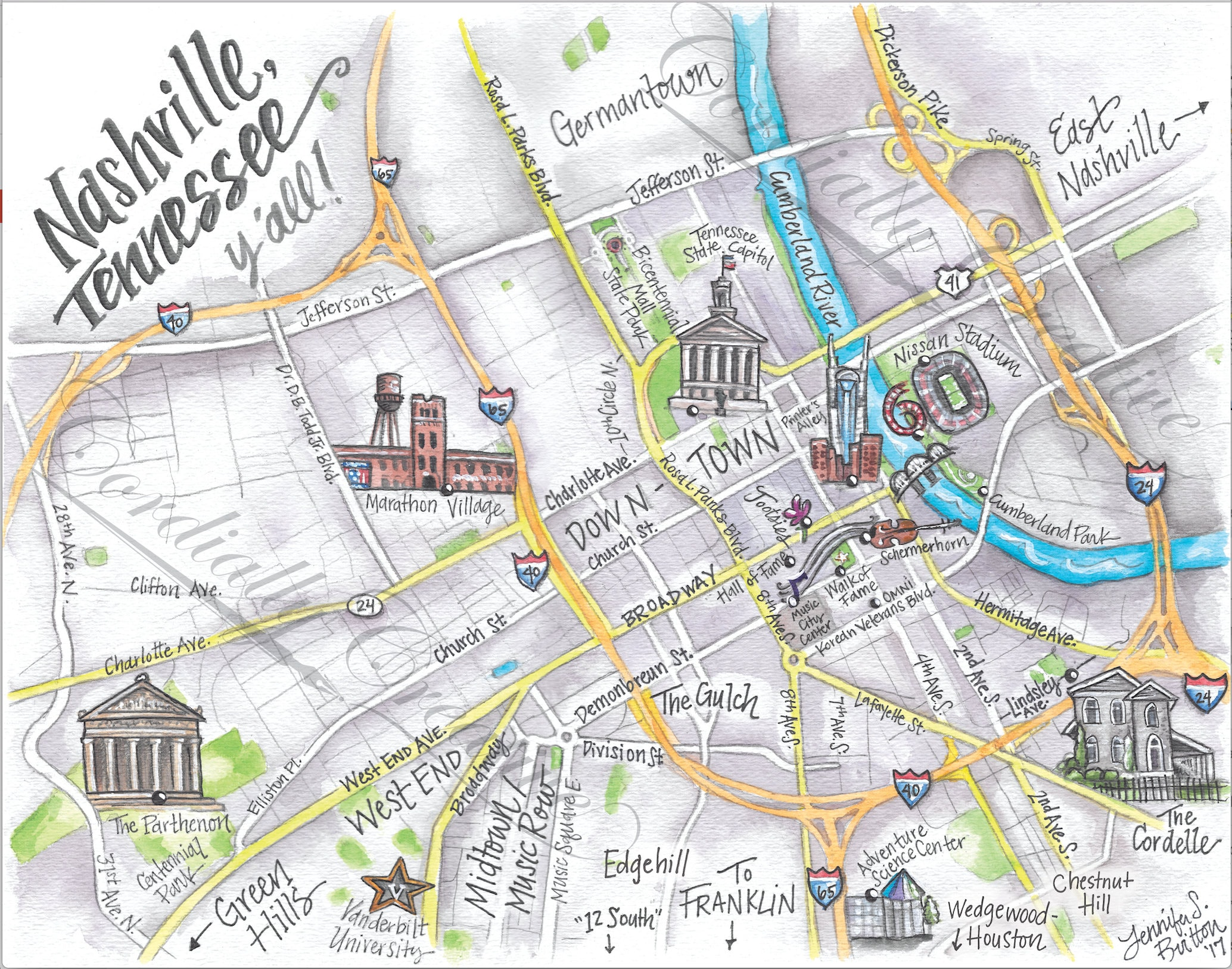 This is a picture of Genius Printable Map of Nashville