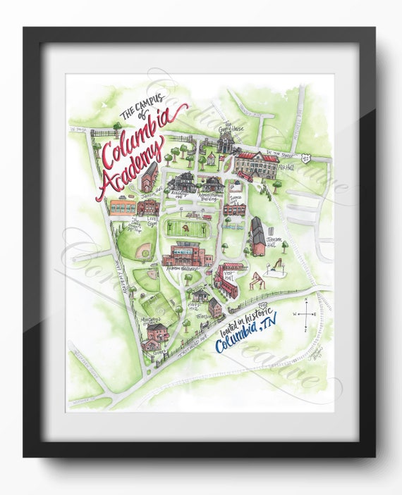 Columbia Academy Campus Map Illustration Poster Print 11x14 Etsy