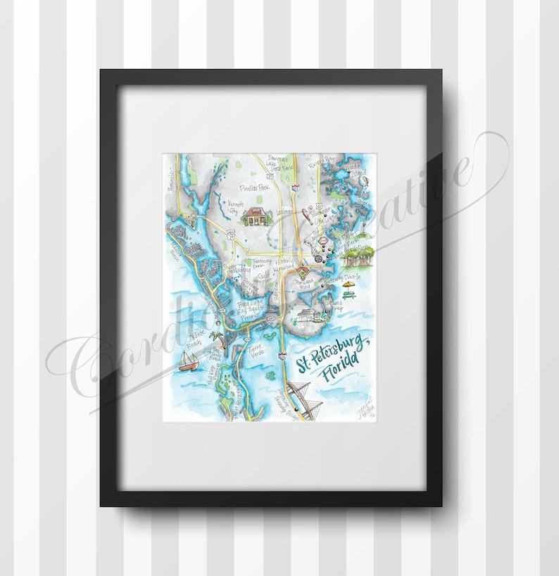 St Petersburg Florida Map Watercolor Illustration Print On Etsy