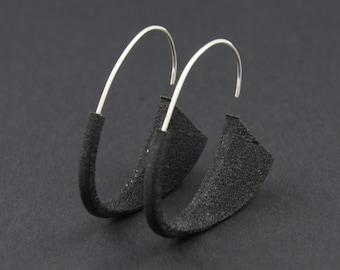Suki Earrings: Black, 3D printed acrylic earrings in black acrylic paint
