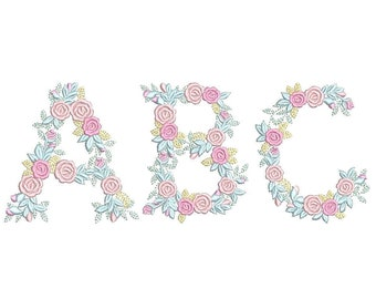 """Delicate Roses Floral font alphabet garden flag monogram liberty fashioned flower Font machine embroidery designs 3, 4, 6, 7, 8"""" included BX"""