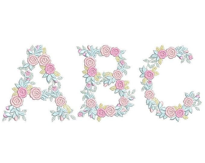 "Delicate Roses Floral font alphabet garden flag monogram liberty fashioned flower Font machine embroidery designs 3, 4, 6, 7, 8"" included BX"